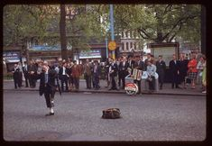 Date: May 1961 Location: London, England, United Kingdom (Greater London county) Description: Buskers Leicester Square Vintage London, Old London, London Market, London History, Old Images, London Life, Vintage Pictures, Location, Family History