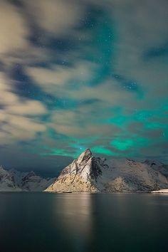 aurora borealis, snowy fjord, Lofoten, Norway.