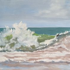 A 6 inch square oil painting of a wave to keep near you anywhere