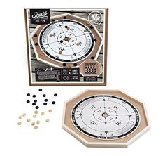 NEW Crokinole And Checkers Wooden Board Game Classic Vintage Family Funny Party #CrokinoleCheckers