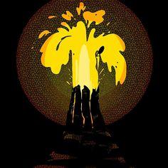 coldmonster volcano nature stylization vivid bright orange red yellow black dark explosion emotions emotion feelings sharp crazy night boom eruption cataclysm catastrophe hazard lava magma burst bang outburst outbreak runaway expendable