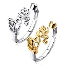 Platinum Plated Engraved Love Rings Set for Daughter Mother
