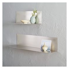 west elm floating l shelving stainless steel 3 feet 100 liked