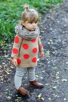 Orange & Tan Polka Dot Sweater