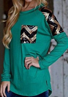 Green Plain Sequin Zigzag Of Sequins Embellished Round Neck Long Sleeve Elegant Loose T-Shirt