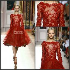 Wholesale Elegant Newest Zuhair Murad Tulle Evening Dresses Gowns Dark Red Appliques Long Sleeve Short Prom Formal Dressesgown Knee Length S...