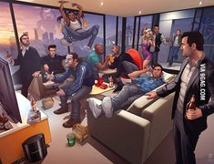 All the Grand Theft Auto Characters in a One Room.