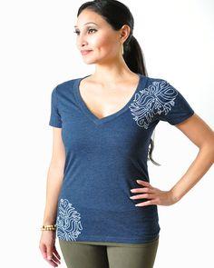 Henna V Neck Tee Shirt - Women's