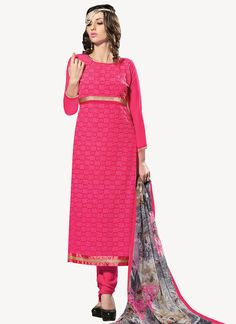 Pink Georgette Straight Suit