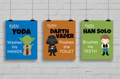 Star Wars Bathroom Prints Even YODA Washes par SimplyLoveCreations Star Wars Bathroom, Lava, Star Wars Decor, Star Wars Prints, Bathroom Prints, Wash Brush, Room Planning, Craft Night, His Hands