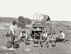 """Texas Roundup: The Lone Star State circa 1901. """"Camp wagon on a Texas roundup."""" Dry plate glass negative by William Henry Jackson, Detroit Publishing Co. Click to view full size."""