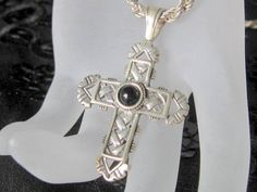 Vintage Sterling and Onyx Cross Necklace Chain Christian Jewelry