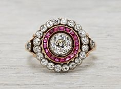 .80 Carat Late Victorian Antique Ruby and Diamond Cluster Ring