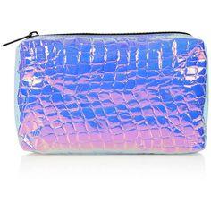 TOPSHOP Holographic Make-Up bag ($15) ❤ liked on Polyvore