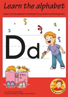 Preschool and Kindergarten Alphabet & Letters Worksheets Letter P Activities, Alphabet Worksheets, Preschool Activities, Letter D, Alphabet Letters, Letters For Kids, Learning The Alphabet, Free Printables, Kindergarten
