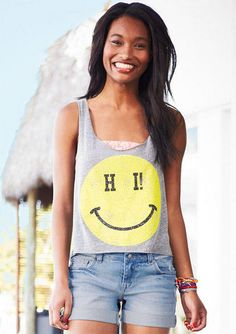 Hi Bye Smilie Face Tank from delias. Popular Outfits, Outfits For Teens, Cool Outfits, Summer Outfits, Summer Clothes, Diy Clothes, Cute Fashion, Teen Fashion, Womens Fashion