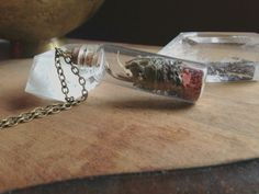 Travelers Protection Necklace Bottle Necklace by TrollsMarket Small Glass Bottles, Protection Necklace, White Magic, Bottle Necklace, Very Lovely, Travel Gifts, Brass Chain, Jasper, Stone
