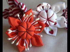 Flor em tecido com miolo acochoado-HOW TO MAKE ROLLED RIBBON ROSES- fabric flowers - YouTube