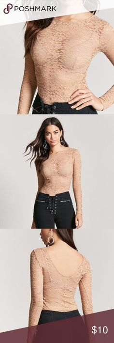 """NWT Sheer Floral Lace Bodysuit Knit  F21 A sheer lace bodysuit featuring long sleeves, a scoop neck and back cut, and snap-button bottom closures. - Layering garments not included. 92% nylon, 8% spandex Hand wash cold - Full length: 27"""" - Chest: 29"""" - Waist: 23"""" - Sleeve length: 26"""" ***NWT- Couldn't fit over my arms or head not pulled over my body.  Need a medium but not available online anymore. Forever 21 Tops"""