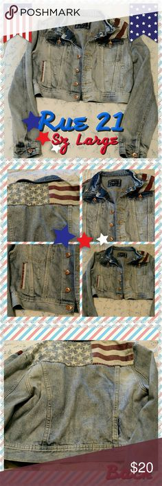 *RePosh* Rue 21 American Flag Distressed Jacket REPOSH- I love it but it fits smaller than a Large. Junior's Large. Distressed light wash denim with American flag details on the back shoulders, front chest, and pocket. It's a cropped Jean jacket style. I really don't want to part with it but it fits a small or medium better.   *I try to double check all of my items for flaws, damage, etc. All of them are lovingly kept. Fits, measurements and sizes are my personal opinion.Ask any questions…