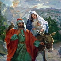 Jesus, Joseph and Mary - The journey to Egypt. Bible Pictures, Jesus Pictures, Religious Images, Religious Art, Biblical Art, Holy Mary, Catholic Art, Holy Family, Christmas Nativity