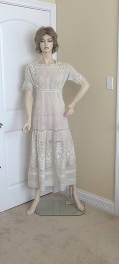 1920s Edwardian Antique Ivory Cotton Lace & Pin Tuck Dress