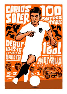 Commissioned illustration celebrating Carlos Soler's 100 appearances with Valencia CF by Lawerta Valencia, Kicks, Illustration Art, Soccer, Photo And Video, Game, Projects, Beautiful, Instagram