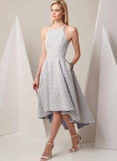 Very Easy Vogue Custom Fit pattern. V9252 MISSES' PRINCESS SEAM HIGH-LOW DRESSES WITH POCKETS