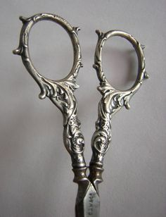 Antique Sterling Silver Scissors with Grapes and Tendrils