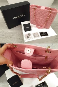 Chanel Pink Quilted Caviar Petite Shopper Tote Handbag $2000.0