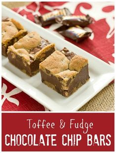 Decadent and irresistible Toffee and Fudge Chocolate Chip Bars /lizzydo/
