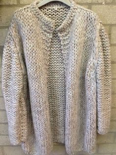 Pearl colored handknitted cardigan Kiro by Kim