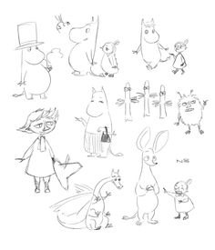 Moomin sketches by Natello on DeviantArt Cute Drawings, Drawing Sketches, Moomin Valley, Tove Jansson, Totoro, Troll, Postcards, Needlework, Art Projects