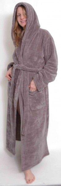 Extra langer Damen Bademantel mit Kapuze, Grey