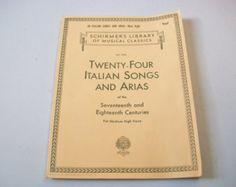 24 canción italiana & Arias para voz media, biblioteca de Schirmer de los musicales clásicos, lecciones de música notas instrucciones de la hoja
