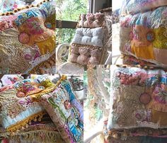 Boho Creek Chic Pillow Silk Patchwork Beaded by AllThingsPretty