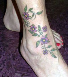 Purple Flower-Vine Tattoo