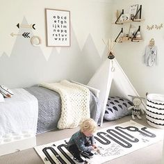 How gorgeous is this little boy's room! The must-have OYOY Adventute rug available at www.istome.co.uk Image @myhomestyle89