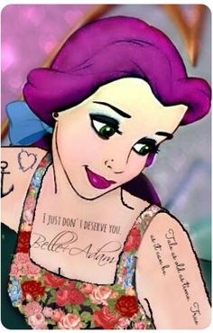 Disney punk Belle S✧s Reloaded Emo Disney Princess, Goth Disney Princesses, Disney Princess Tattoo, Punk Princess, Princess Art, Disney Girls, Emo Disney Characters, Disney Villains, Dark Disney