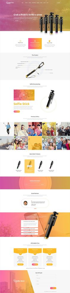 Selfie stick is clean and modern design #PSD template for #photography #product showcase landing page website download now > https://themeforest.net/item/selfie-stick-photography-psd-template/19904739?ref=Datasata