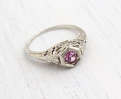 Antique 18k White Gold Pink Stone Ring  Vintage by MaejeanVintage, $275.00