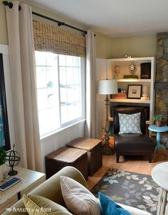 Eclectic cottage living room - light over bookcase