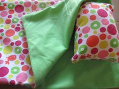 18 inch doll sleeping bag pink and green dot doll by babychickie