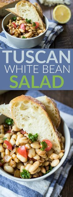 Sometimes all you want for dinner is bread  butter and wine. Class that up a bit with this Tuscan White Bean Salad! Eat on top of buttered crusty bread and serve with a glass of red wine - dinner is served!