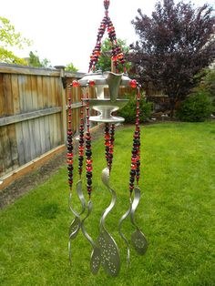 Wind chime - creamer- red crystal and hematite - silver plated flatwar - Whispering Metalworks