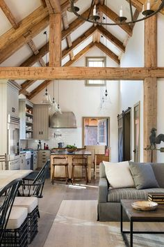This charming New England stone farmhouse was designed by Ward Jewell Architect, located in Brentwood, California. Modern Farmhouse Decor, Farmhouse Design, Farmhouse Style, Timber Kitchen, Rustic Kitchen, Timber Beams, Exposed Beams, Living Room Lounge, New Home Construction
