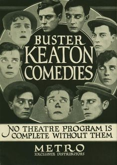 An awesome trade ad for Buster Keaton shorts, featuring a delightful collection of floating Buster heads. Golden Age Of Hollywood, Hollywood Stars, Old Movies, Vintage Movies, Little Busters, Silent Film Stars, Movie Stars, Theater, Movies