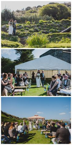 Outdoor cliff top wedding at Polhawn Fort, Cornwall