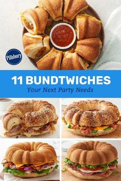 Bundtwiches Your Next Party Needs Win your next game day party with a Bundtwich big enough to feed your horde of hungry fans!Win your next game day party with a Bundtwich big enough to feed your horde of hungry fans! Sandwich Bar, Roast Beef Sandwich, Soup And Sandwich, Sandwich Ideas, Appetizer Sandwiches, Delicious Sandwiches, Wrap Sandwiches, Potluck Appetizers, Appetizer Recipes