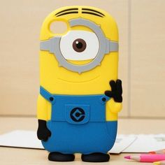 3D Cartoon Minions Despicable Me Soft Silicon Phone Case for iPhone 5 / 5S / 5C/ 4 / 4s(Blue One Eye) - Fashion iPhone 5S Cases - iPhone 5 5S Cases popular #girl